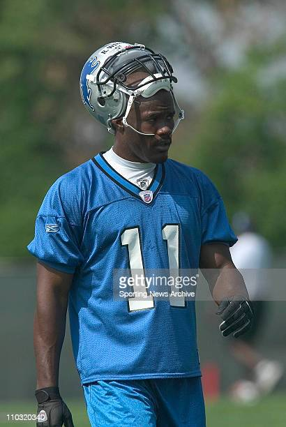 Roy Williams of the Detroit Lions during training camp in Allen Park, MI.
