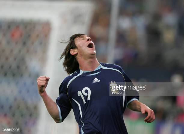 16 June 2006 Gelsenkirchen FIFA World Cup Argentina v Serbia and Montenegro Lionel Messi celebrates after scoring a goal for Argentina