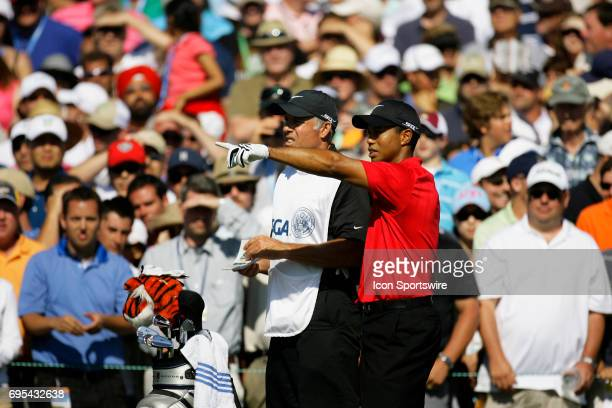 Tiger Woods and Caddie Steve Williams during the final round of the US Open Championship at Torrey Pines South Golf Course in San Diego CA