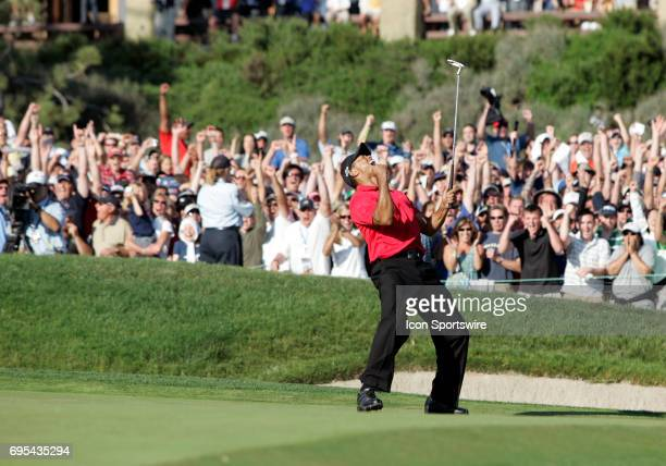 Tiger Woods birdies the 18th hole and celebrates to send it to a playoff round against Rocco Mediate during the final round of the US Open...