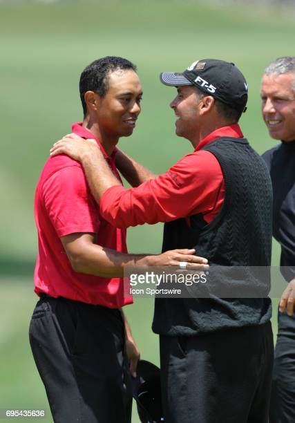 Tiger Woods hugs Rocco Mediate after winning the 108th US Open Championship at Torrey Pines South Golf Course in San Diego CA