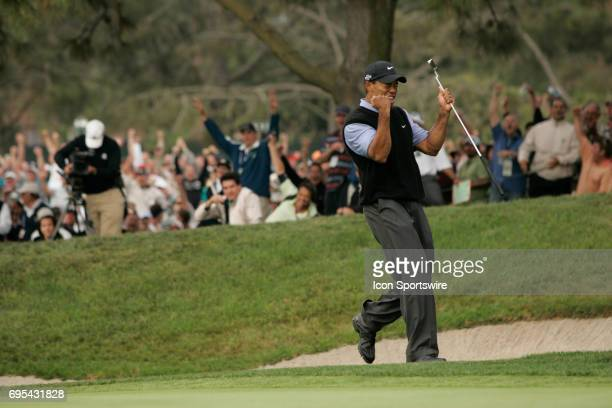 Tiger Woods pumps his fist in celebration on the 13th green after making an eagle during the third round of the US Open Championship at Torrey Pines...