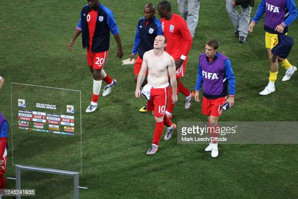 June 2010 Bloemfontein, FIFA World Cup - Germany v England - bare chested Wayne Rooney and the England squad after the 4-1 defeat.