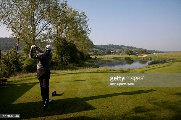 June 2010: Richard Bland playing a tee shot at the 3rd hole on day one of the Celtic Manor Wales Open 2010, in the Celtic Manor Resort and Golf Club,...