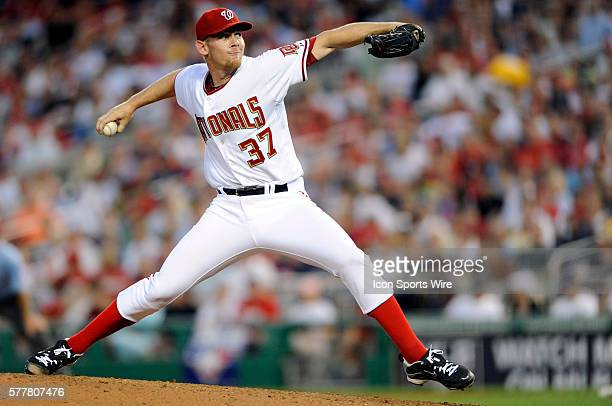 Washington Nationals starting pitcher Stephen Strasburg pitches in his major league debut against the Pittsburgh Pirates at Nationals Park in...