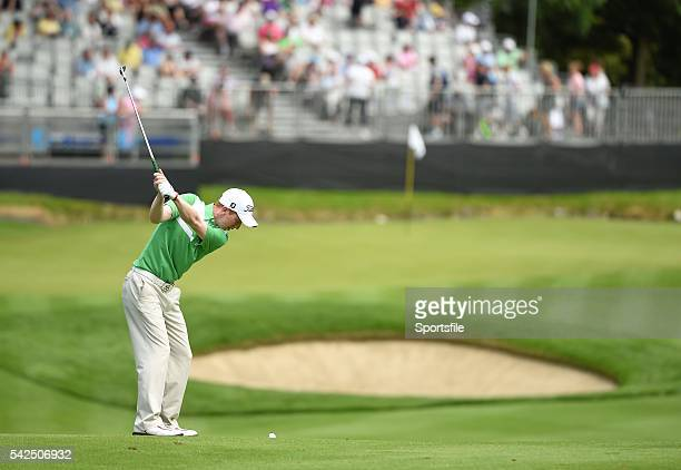 19 June 2014 Amateur Gavin Moynihan plays his approach shot to the ninth green during day 1 of the 2014 Irish Open Golf Championship Fota Island Cork...