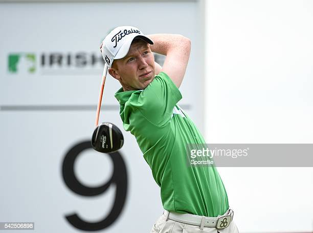 19 June 2014 Amateur Gavin Moynihan watches his tee shot from the ninth teebox during day 1 of the 2014 Irish Open Golf Championship Fota Island Cork...