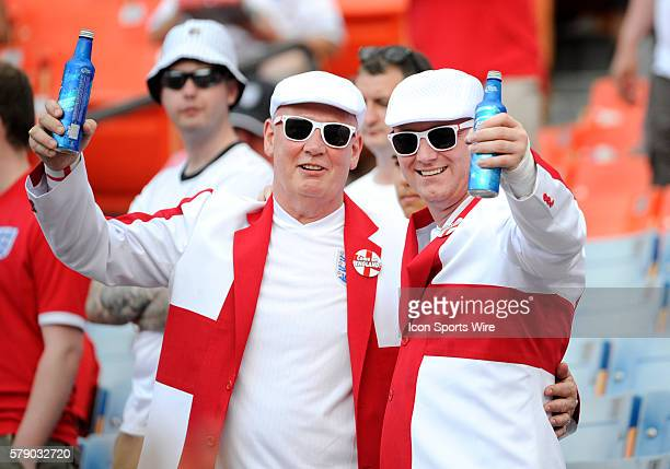English fans pose holding beers in the stands during an international friendly world cup warm up soccer match between England and Honduras at the Sun...