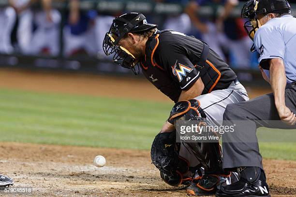 Miami Marlins Catcher Jeff Mathis [3102] blocks a ball during the MLB game between the Miami Marlins and Texas Rangers at Globe Life Park in...