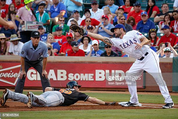 Miami Marlins Infield Ed Lucas [10440] dives back to the base as Texas Rangers first baseman Brad Snyder reaches for a wide throw during the MLB game...