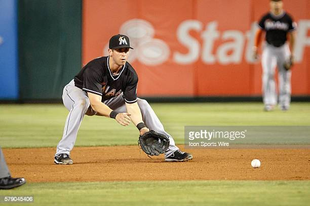 Miami Marlins Infield Ed Lucas [10440] makes a play on a ground ball during the MLB game between the Miami Marlins and Texas Rangers at Globe Life...