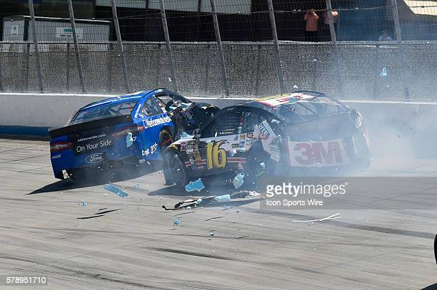 NASCAR Sprint Cup driver Greg Biffle and Ricky Stenhouse Jr crash during the FedEx Autism Speaks 400 at Dover International Speedway in Dover DE