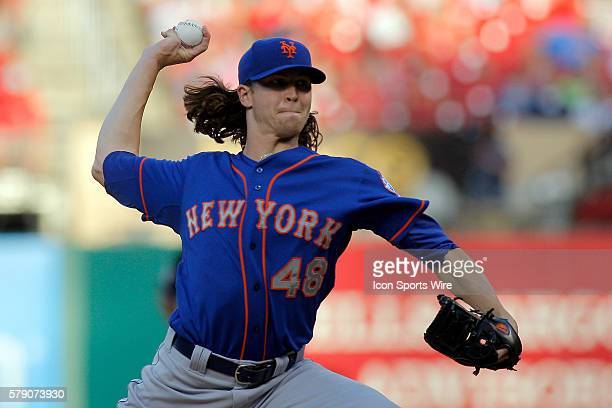 New York Mets starting pitcher Jacob deGrom throws during the first inning of a baseball game against the St Louis Cardinals at Busch Stadium in St...