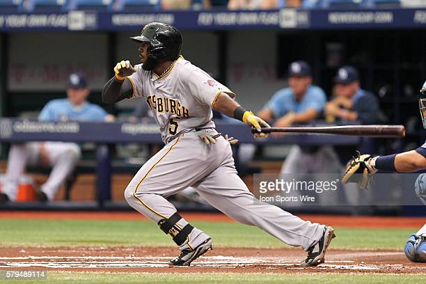 Pittsburgh Pirates right fielder Josh Harrison singles in the 1st inning of the MLB regular season game between the Pittsburgh Pirates and Tampa Bay...