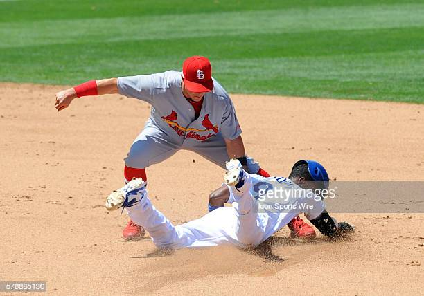 St Louis Cardinals Second base Mark Ellis [2830] tags out Los Angeles Dodgers Second base Dee Gordon [7422] on a steal attempt at second during a...