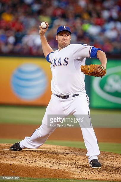 Texas Rangers Starting pitcher Colby Lewis [2914] in action during the MLB game between the Miami Marlins and Texas Rangers at Globe Life Park in...