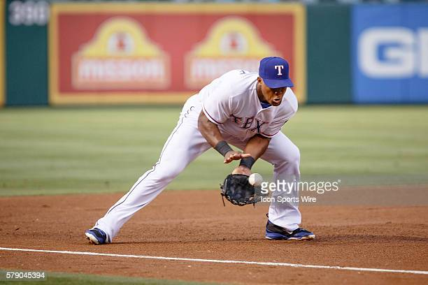 Texas Rangers Third base Adrian Beltre [1597] makes a play on a hard hit ground ball to 3rd during the MLB game between the Miami Marlins and Texas...