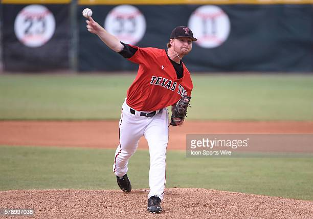 Texas Tech University right handed pitcher Ryan Moseley pitches against the University of Miami at Alex Rodriguez Park at Mark Light Field Coral...