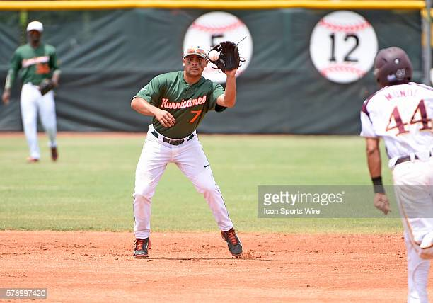 University of Miami infielder Alex Hernandez fields a ground ball against BethuneCookman University at Alex Rodriguez Park at Mark Light Field Coral...
