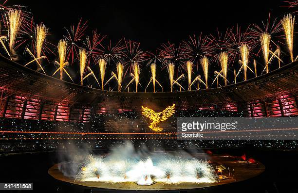 June 2015; A general view of the Olympic Stadium during the 2015 European Games Closing Ceremony in Baku, Azerbaijan. Picture credit: Stephen...