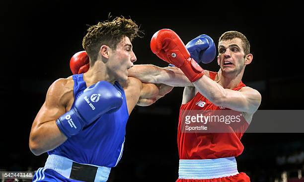 23 June 2015 Adam Nolan Ireland right exchanges punches with Josh Kelly Great Britain during their Men's Boxing Welter 69kg Quarter Final bout 2015...