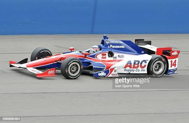 AJ Foyt Enterprises driver Takuma Sato in his ABC Supply AJ Foyt Racing during the MAVTV 500 held at the Auto Club Speedway in Fontana CA