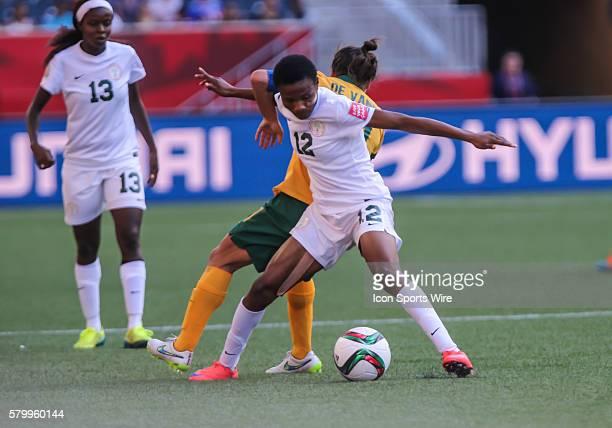 June 2015 Australia's Lisa De Vanna battles Nigeria's Halimatu Ayinde for the ball during the Australia vs Nigeria game at the Investors Group Field...