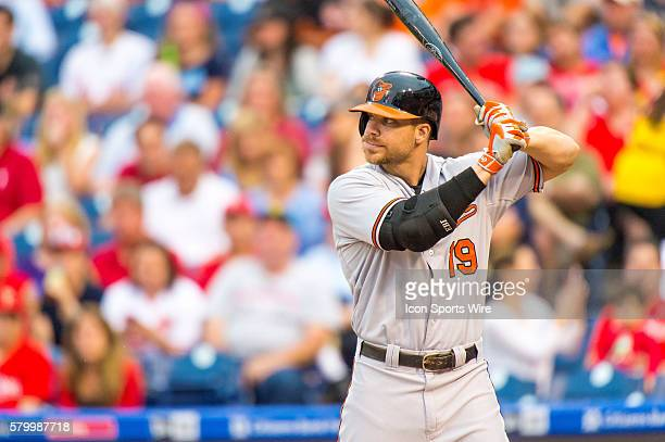 Baltimore Orioles first baseman Chris Davis ready for the pitch during the MLB game between the Baltimore Orioles and the Philadelphia Phillies...