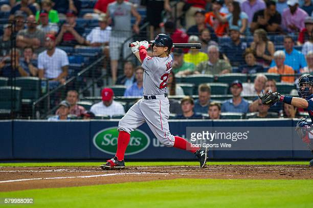 Boston Red Sox OutFielder Brock Holt triples in the the fourth inning during a regular season game between the Boston Red Sox and the Atlanta Braves...