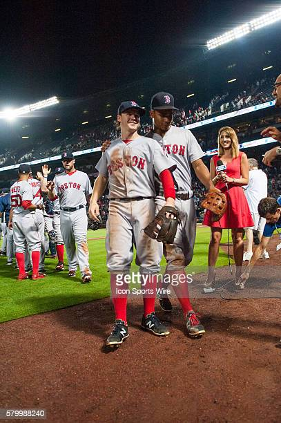 Boston Red Sox Second Baseman Brock Holt after a regular season game between the Boston Red Sox and the Atlanta Braves at Turner Field in Atlanta...