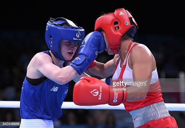 22 June 2015 Ceire Smith Ireland left exchanges punches with Saiana Sagataeva Russia during their Women's Boxing Fly 51kg Quarter Final bout 2015...
