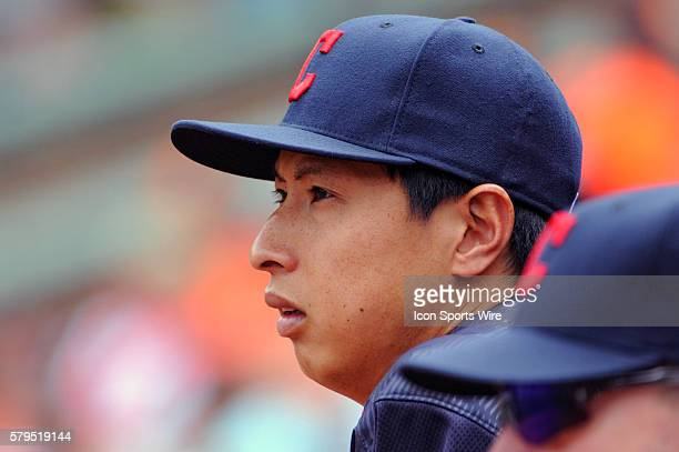 Cleveland Indians starting pitcher Kazuhito Tadano in the dugout at Orioles Park at Camden Yards in Baltimore MD where the Baltimore Orioles defeated...