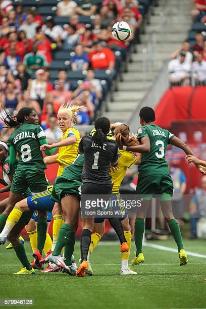 June 2015 Congestion around the Nigerian net during the Sweden vs Nigeria game at the Investors Group Field in Winnipeg MB.