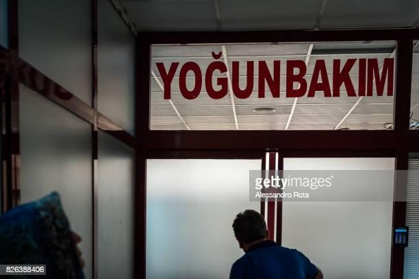 11 June 2015 Diyarbakir Turkey Entrance of the intensive care where Mutlu Kaya is Hospitalized at the Diyarbakr Gazi Yaargil Eitim Ve Aratrma...