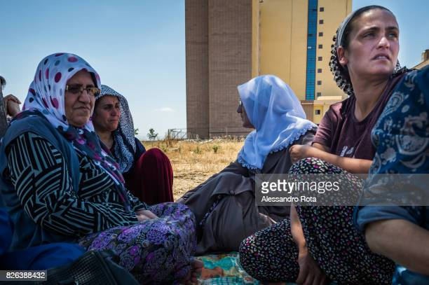 11 June 2015 Diyarbakir Turkey Hanim Kaya mother of Mutlu Kaya and her sister Dilek Kaya receive daily visits from members of the family at their...