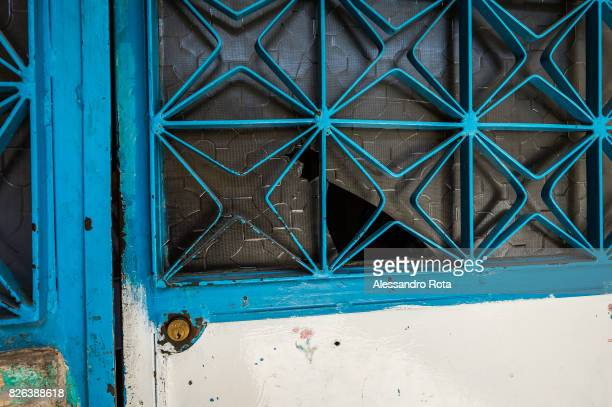 10 June 2015 Ergani Turkey Bullet hole on the entrance door of the house of the Kayau2019s family Mutlu Kaya was shot in the head on the night of the...
