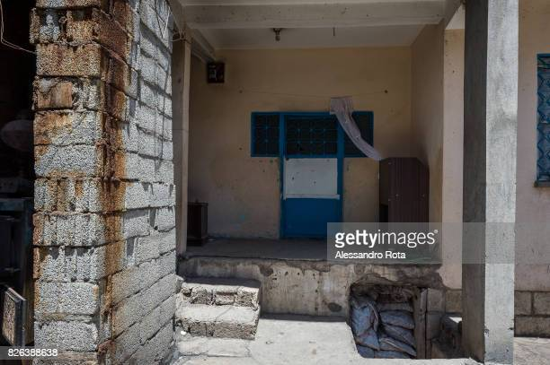 10 June 2015 Ergani Turkey Entrance door of the house of the Kayau2019s family Mutlu Kaya was shot in the head on the night of the 17th of May 2015...