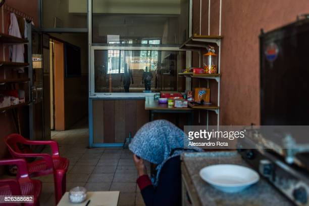10 June 2015 Ergani Turkey Hanim Kaya mother of Mutlu Kaya in the cafeteria of the school where her daughter was working She shot in the head on the...