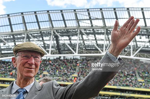 7 June 2015 Former Republic of Ireland manager Jack Charlton is introduced to the crowd before the game Three International Friendly Republic of...