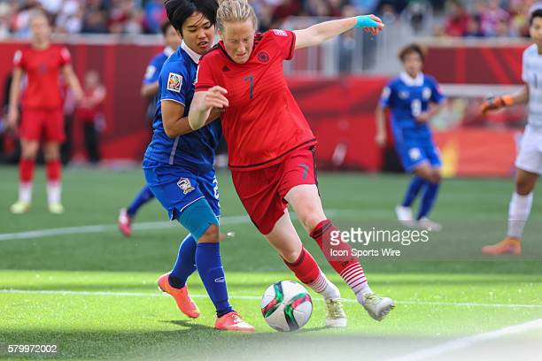 June 2015 Germany's Melanie Behringer with the ball during the Thailand vs Germany game at the Investors Group Field in Winnipeg MB.