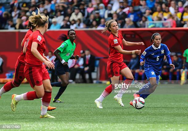 June 2015 Germany's Melanie Leupolz passes the ball during the Thailand vs Germany game at the Investors Group Field in Winnipeg MB.