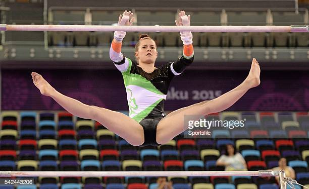 14 June 2015 Ireland's Nicole Mawhinney competes on the uneven bars during Artistic Gymnastics Women's Team Final Individual Qualification event 2015...
