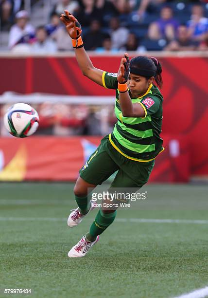 June 2015 Japan's Homare Sawa heads the ball during the Ecuador vs Japan game at the Investors Group Field in Winnipeg MB.