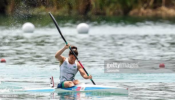 15 June 2015 Jenny Egan of Ireland competes in the heats of the Canoe Sprint Women's Kayak Single 200m event 2015 European Games Mingachevir Baku...