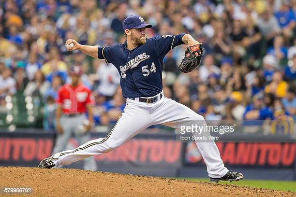 Milwaukee Brewers Pitcher Michael Blazek [10236] throws a pitch as the Washington Nationals take on the Milwaukee Brewers at Miller Park in Milwaukee...