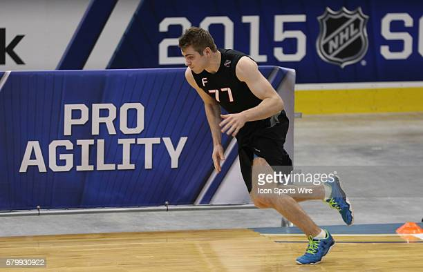 NHL draft prospect left wing Jake Debrusk performs some fitness test drills during the 2015 NHL Combines at the Harbor Center in Buffalo NY