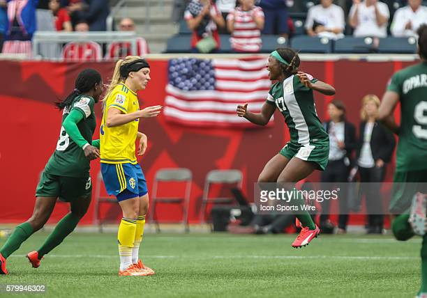 June 2015 Nigeria's Fransica Ordega celebrates during the Sweden vs Nigeria game at the Investors Group Field in Winnipeg MB.