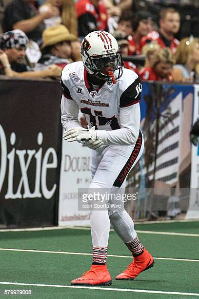 Orlando Predators wide receiver Brandon Thompkins during the game between the Orlando Predators and the Jacksonville Sharks at Jacksonville Veterans...