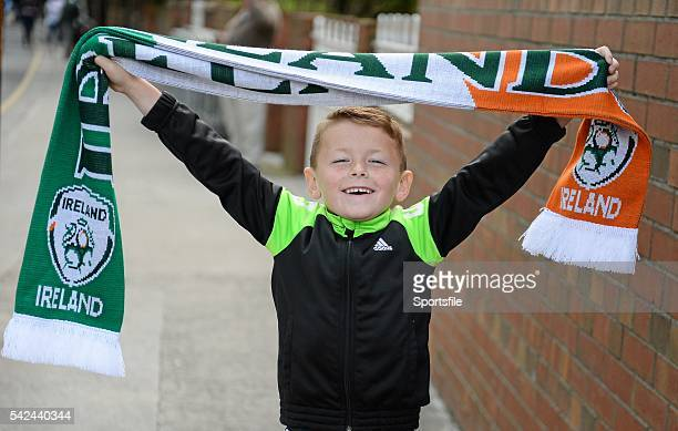 7 June 2015 Republic of Ireland supporter Kadin Coffey age 7 from Portarlington Co Laois on this way to the game Three International Friendly...