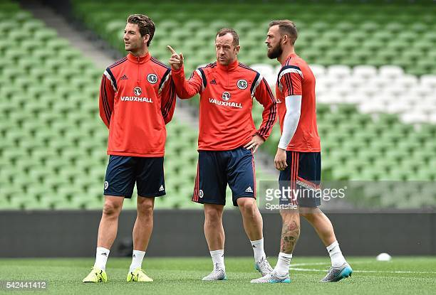 12 June 2015 Scotland players from left to right Charlie Mulgrew Charlie Adam and Steven Fletcher during squad training Scotland Squad Training Aviva...